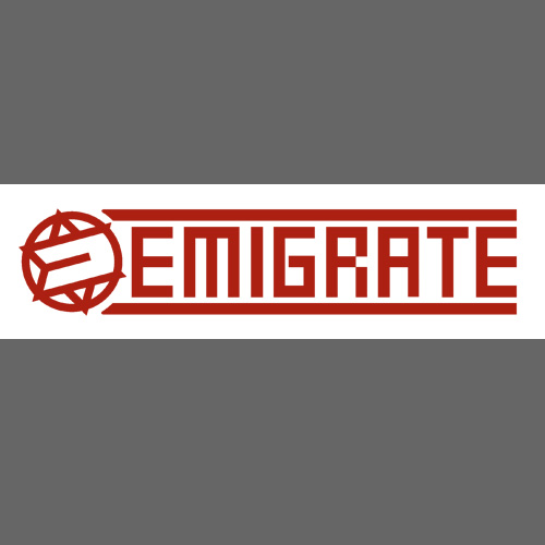 "Car Sticker ""EMIGRATE"" - red (inside)"